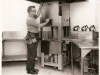 Mr. Ed Scanlan checking out equipment in the large, stainless steel kitchen