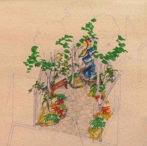 Meditation Garden Drawing